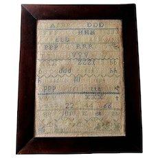 Antique 19th Century AMERICAN ALPHABET SAMPLER Elizabeth Kate Hickman