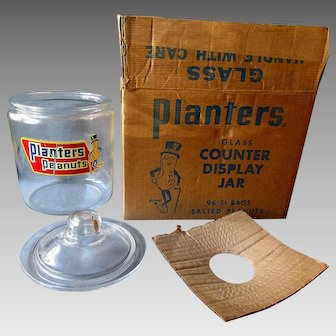 Vintage PLANTERS PEANUT Glass Counter Display Jar with Original Decal & Box