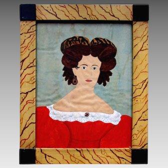 Vintage American Folk Art GARRETT B. FRENCH Watercolor Painting - Dolly Madison