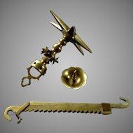 ANTIQUE 19th Century Judaica JUDENSTERN Brass Hanging Sabbath Lamp