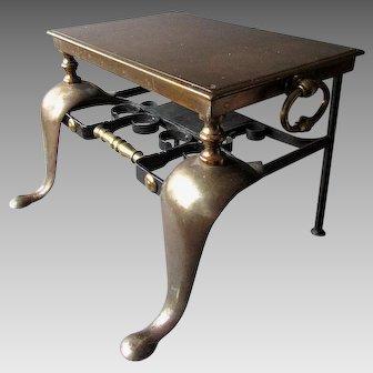 Antique 19th Century Brass & Wrought Iron FIREPLACE FOOTMAN
