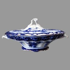 ANTIQUE Stanley Pottery TOURAINE Flow Blue Covered Vegetable Dish - England 1898