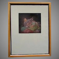 """Excellent ENG TAY Limited Edition Color Engraving 2/100 - """"YOUNG LOVE II"""" - 1992"""