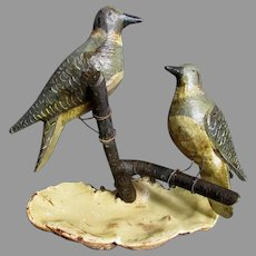 Pair Antique Hand Carved FOLK ART BIRDS