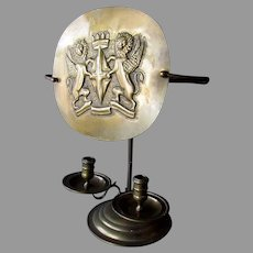Antique 19th Century BRASS CANDLE HOLDER with Winged Lion Flame Screen