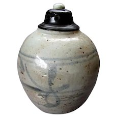 Small Antique 18th / 19th Century CHINESE Hand Painted Stoneware GINGER JAR