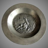 Antique 19th Century PEWTER Repousse Bowl DAVID & GOLIATH