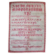 Antique 19th Century ALPHABET SAMPLER - Alice Bierton Age 14 - Dated 1885
