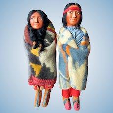 Pair Vintage SKOOKUM Bully Good CHARACTER DOLLS Native American Indian 1930's