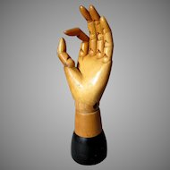 Antique ARTICULATED WOODEN HAND Artist's Model Mannequin - Made In Belgium