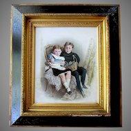 Large Antique OPALOTYPE Hand Painted Milk Glass Photograph PORTRAIT of CHILDREN