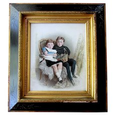 Large Antique OPALOTYPE Hand Painted Milk Glass Photograph PORTRAIT of CHILDREN