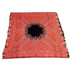 "Antique 19th Century Wool Paisley Shawl 70"" X 70"""