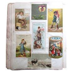 Antique Victorian Era SCRAPBOOK ALBUM with 200 Plus Trade Cards