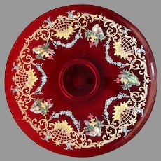 "Vintage MURANO Venetian Art Glass 14"" SALVIATI Enameled Ruby Platter with Birds"