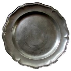 """Large Antique 18th Century ENGLISH 14 1/2"""" PEWTER CHARGER Crown & Rose Mark"""