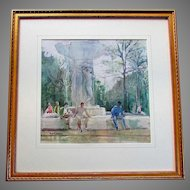 Beautiful B. FRASER Original Watercolor Painting  - Fountain in the Park -