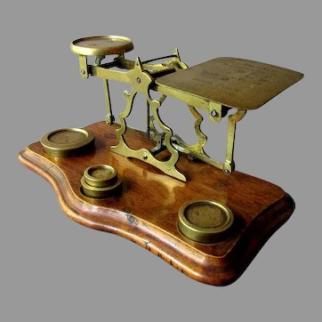 Antique British POSTAL SCALE with Weights