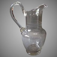 Antique 19th Century - Occupational Blown Glass Pitcher - MINERS - Hammer & Pick