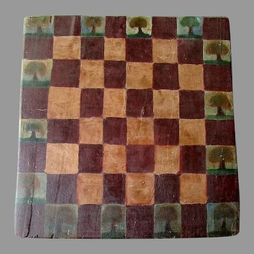 Antique FOLK ART  Wooden Checkerboard with Hand Painted Trees