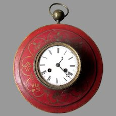 Antique 19th Century LEROY & FILS Hand Painted French Empire TOLE CLOCK