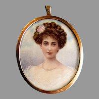 ANTIQUE Miniature Portrait of a Beautiful Woman - Artist Signed I. HAMILTON