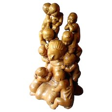 "Large Vintage CHINESE Hand Carved Boxwood 18"" Figure - Mother with Children"