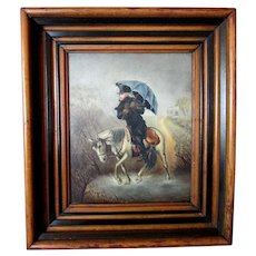 Charming ANTIQUE 19th Century Oil Painting on Board - GENTLEMAN in the RAIN