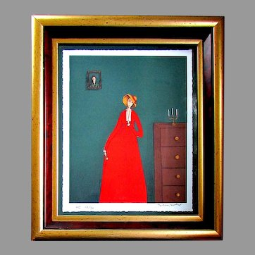 Limited Edition BRANKO BAHUNEK Hors Commerce Lithograph THE WOMAN IN RED 18/30