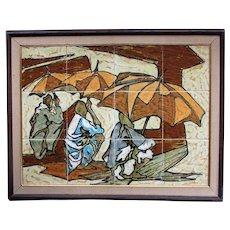 VINTAGE Mid Century Modern HARRIS STRONG Tile Painting Wall Art - Island Theme