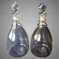 PAIR Antique GEORGE III Blown Glass Decanters with Lunar Cut Stoppers
