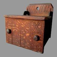 Early Antique -  18th / 19th Century - Quarter Grain Oak - WOODEN SALT BOX