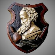 Antique - Hand Carved - Wooden Plaque - MICHELANGELO