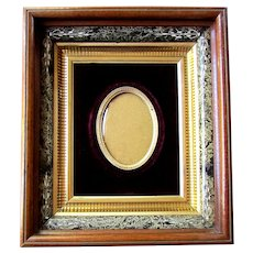 Antique EASTLAKE Deep Walnut PORTRAIT FRAME with Oval Convex Glass & Burgundy Velvet Matte