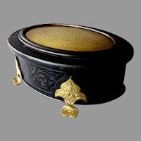 Antique 19th Century ALPHONSE GIROUX Ebonized Wood & Engraved Brass DRESSER BOX Jewel Casket
