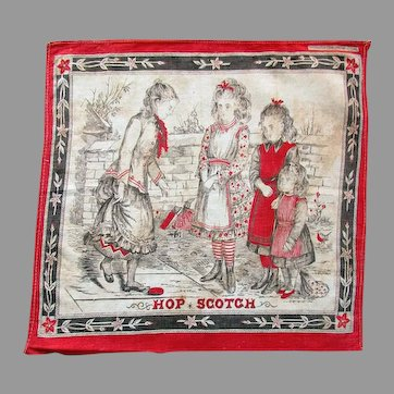 Antique  S. H. GREENE & SONS Printed Handkerchief - Hop Scotch