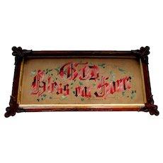 Antique - Victorian Era Motto - Punchwork Sampler - GOD BLESS OUR HOME - circa 1880