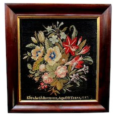 Antique FLORAL NEEDLEPOINT SAMPLER - Elizabeth Burrows - Aged 10 years - 1883