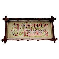 Antique PUNCHWORK SAMPLER - I Know That My Redeemer Liveth - circa 1880