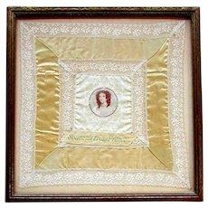 Antique - MARIE ANTOINETTE - Souvenir of France - Silk & Lace Handkerchief circa 1914