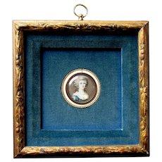 Antique Miniature Painting MARIE ANTOINETTE Artist Signed