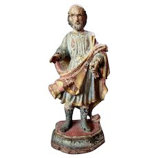 Antique - 18th Century - Italian - Hand Carved Wood - Polychrome Figure