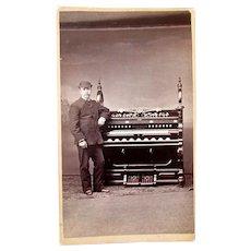 Antique 19th Century Cabinet Card Photograph GENTLEMAN with PUMP ORGAN