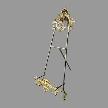 """Antique - 19th Century - French Style - Gilt Brass - 26"""" TABLETOP EASEL"""