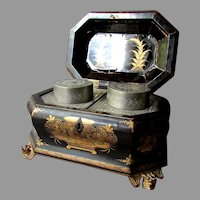 ANTIQUE Chinese Lacquer TEA CADDY with Pewter Insert