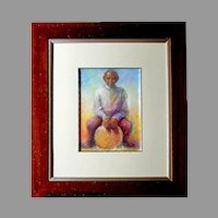 South African - SAM MADUNA -  Pastel Painting  - Boy with Ball