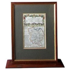 Antique 18th Century OWEN & BOWEN Hand Colored Engraved Road Map HUNTINGDON to IPSWICH Huntingdonshire England circa 1720