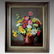 Vintage CHARLES B. ZIMMERMAN Oil Painting on Canvas Floral Still Life