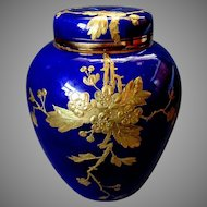Antique 19th Century New England Pottery Co. RIETI Gold & Cobalt Blue POTPOURRI JAR 1888