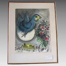 Vintage MARC CHAGALL  - Charles Sorlier Lithograph Poster -  L'Oiseau Bleu - THE BLUE BIRD  - Artist Signed 1968